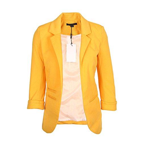 JIANGTAOLANG Women Slim Fit Blazer Jackets Notched Office Work Open Front Candy Color Blazer Lemon Yellow XL
