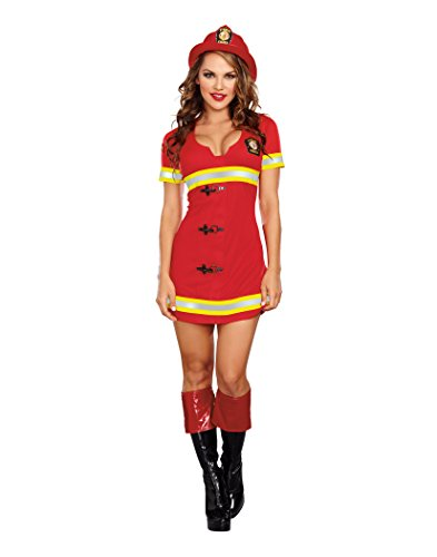 Dreamgirl Women's Fire Chief Costume, Red, Large]()