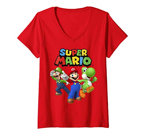 Womens Super Mario Luigi Mario And Yoshi Group Shot V-Neck -