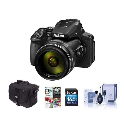 - Nikon COOLPIX P900 Digital Camera, 83x Optical Zoom - Bundle with Camera Bag, 16GB Class 10 SDHC Card, Cleaning Kit, Software Package