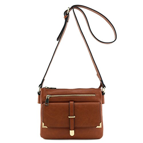 - Flap Pocket Crossbody Bag Brown