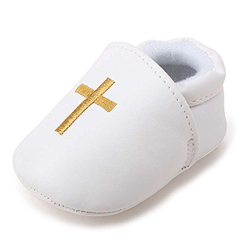 Tips for buying gifts for your Godchild: Delebao Baby Boy Girl Infant PU Leather Christening Baptism Shoes Prewalker Slippers