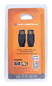 Micro Connectors Premium Certified HDMI 4K Ultra HD 60Hz Cable - 3ft, Black (H2-03MAMA) from Micro Connectors, Inc