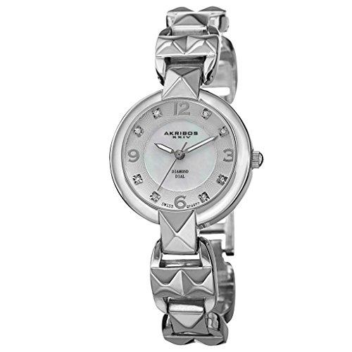 Akribos XXIV Women's Swiss Quartz Movement Watch - Mother of Pearl Dial with a Pyramid Cut Bracelet - AK755
