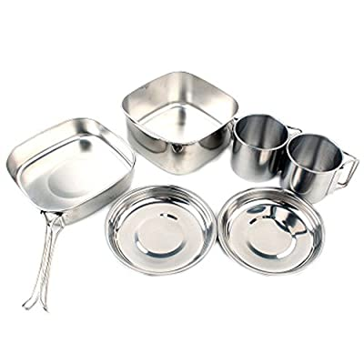 CHRISTYZHANG Camping Mini Cookware, Stainless Steel Cooking Tool Set Picnic Cooking Equipment 6 Pieces for Hiking Outdoors