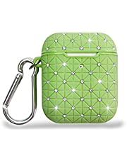 Ostop Compatible with Airpods 1/Airpods 2 Case Bling with Crystal Diamonds,Upgrade TPU Full Protective Hard Cover for Women Girls with Shiny Keychain for Airpods 2/1 Charging Case,Dark Green