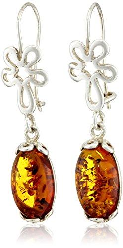 Sterling Silver Honey Amber Drop Floral Earrings