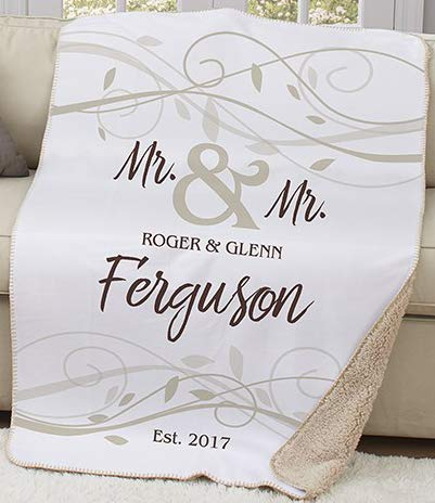 Personalized Wedding Sherpa or Couples Blanket. Lovely Wedding Mr. & Mr.