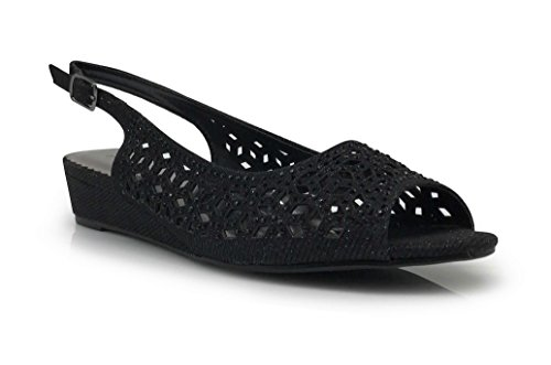 Wedge Heel Slingback Sandals - Guppie Womens Open Toe Low Heel Sling Back Wedding Rhinestone Wedge Sandal Shoes (8, Black)