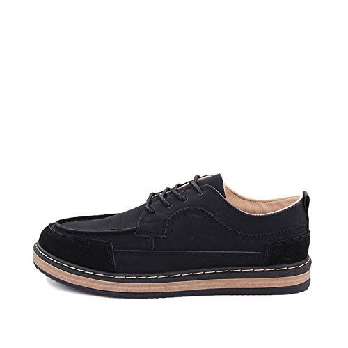 Fashion-Lover New 2018 Mens Shoes Flock Leather Men's Thick Bottom Handmade Mens Loafers Fashion Designer Casual Shoes For Man Footwear,Black,7
