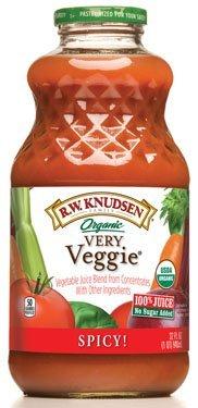 Knudsen - Very Veggie Spicy Organic Vegetable Juice, (100% Juice! No Sugar Added), Buy TWELVE and Save Per Bottle, Each Bottle is 32 Oz (Pack of 12)