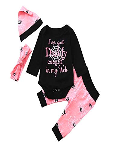Hide on bush Fashion Newborn Baby Letter Romper Tops Cartoon Prin Pants Cap Halloween Comfortable Clothes Sets(100, -