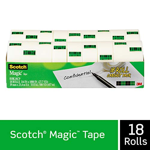 Scotch Magic Tape 18 Refill Rolls Numerous Applications Cuts Cleanly Engineered For Repairing 3 4 X 1000 Inches Cabinet Pack 810k18cp
