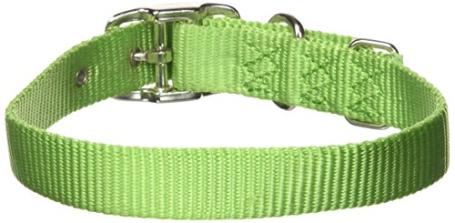 Hamilton 3/4-Inch by 18-Inch Single Thick Nylon Deluxe Dog Collar, Lime Green ()