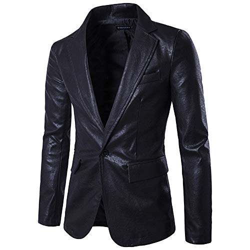 WOCACHI Final Clear Out Mens Blazer PU Leather Casual Single Button Suit Coat Fit Lapel Jackets Black Friday Cyber Monday Autumn Winter Long Sleeve Sweater Tops (Black, - Designer Fab Dog