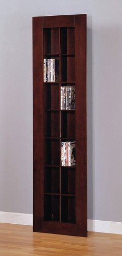 Contemporary Leaning Cappuccino Finish Wood CD/DVD Rack Shelf Bookcase