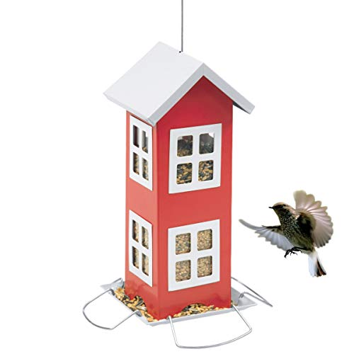 LIMEIDE Wild Bird House Feeder, Easy Cleaning & Refills, Comes with Hook to Hang on Tree, Poles in Backyard Garden, Patio; Gift idea for Parents,2-Pound Seed Capacity (Red) (Ideas Easy Backyard Patio)