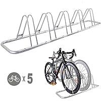 CyclingDeal 5 Bicycle Floor Type Parking Rack Stand - for Mountain and Road Bike Indoor Outdoor Nook Garage Storage