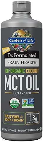 Garden of Life Dr. Formulated Brain Health 100% Organic Coconut MCT Oil 16 fl oz Unflavored, 13g MCTs, Keto & Paleo Diet Friendly Body & Brain Fuel, Certified Non-GMO Vegan & Gluten Free, Hexane-Free