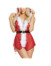 HEFEITONG Christmas Plus Size Women Sexy Muslin Small Bell Lingerie Suit Underwear