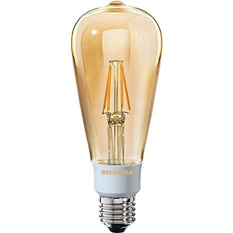 Sylvania - Bombilla LED filamento efecto golden regulable ST64 lámpara 5,5 W ES 560LM a + +: Amazon.es: Iluminación