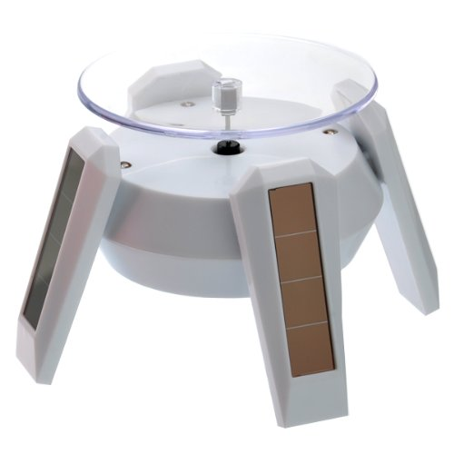 Foxnovo Solar/AA Battery Powered 360 Degree Rotating Display Stand Turntable for Cellphone /Watch /Jewelry (White)