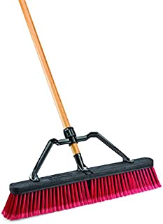 """product image for Libman Commercial 827 Multi-Surface Industrial Push Broom with Brace, 65"""" Length, 24"""" Width, Black/Red/Wood (Pack of 4) (827G)"""