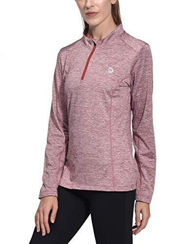 Womens Thermal Zip - Baleaf Women's Thermal Running Shirts Long Sleeve 1/4 Zip Pullover Running T-Shirts Red M