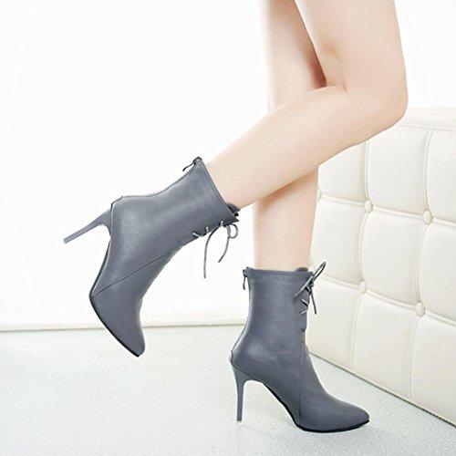 Overdose Femme Hauts Pointues Gris Chaussures Lacets Bottines Hiver À Talons Bottes 64PqU