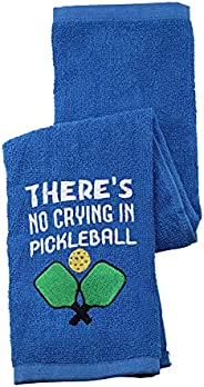 Pickleball Towel There's No Crying in Pickleball Player Embroidered Sports Teem Hand Towel Gift for Pickle