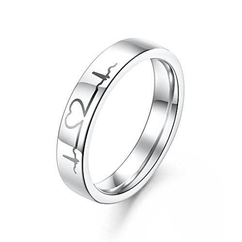 GAGAFEEL 4mm men women wedding ring heartbeat.
