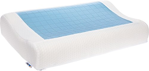 Mindful Design Cooling Contoured Memory Foam Pillow - Dual Sided Cooling Gel Pillow with Removable Cover