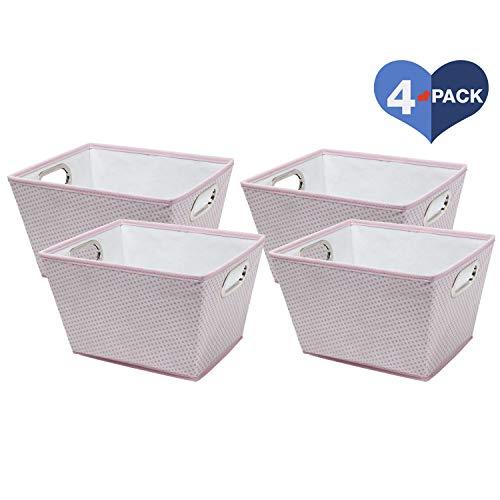 (Delta Children 4 Piece Rectangle Storage Bins, Pink Dot)