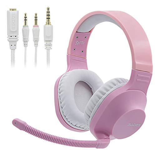 SADES SA721 Spirits Gaming Headset Xbox one Headset for PS4,PC,Xbox One Controller,Noise Cancelling Over Ear Headphones with Mic, Bass Surround, Soft Memory Earmuffs for Laptop Mac Nintendo Game Pink