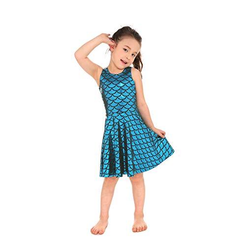 Yiwbeij Lake Blue Sleeveless Little Mermaid Fish Scales Dress Elegant for Girls L