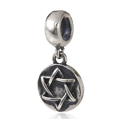 Shalom Star of David Dangle Charm 925 Sterling Silver Star Beads Charm fit for DIY Charms Bracelets