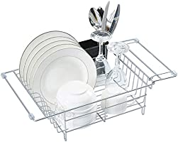Expandable Dish Drying Rack with Utensil Holder Small Dish Drainer for Over Sink or On Counter
