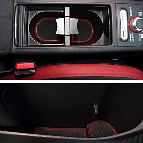 Custom Fit Cup and Console Liner Acessories for Subaru STI 2015 2016 2017 2018 2019 2020 (Red Trim)