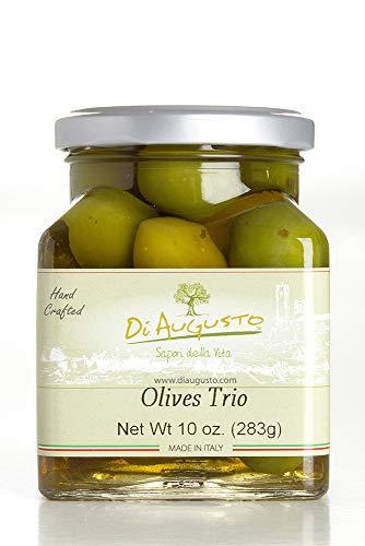 (Di Augusto Italian Olives Trio (Nocellara, Bella di Cerignola, Leccino olives mix) in Brine 10 oz (283 g) Glass Jar (Pack of)