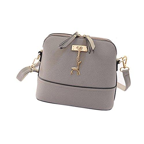 1de122c5bd Generic Women Vintage PU Leather Shoulder Bags Shell Model Handbag (25 10  19cm) (Grey ) - Buy Online in Oman.