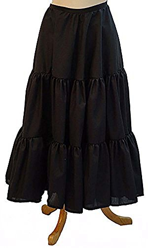 Steampunk-Victorian-Edwardian-Cosplay-Pirate-Dames Ladies LONG TIERED COTTON PETTICOAT available in various colours and sizes (LADIES 16-20, WHITE)