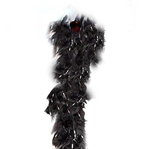 SACASUSA (TM) Feather Chandelle Boa 6 feet long for Halloween costume (Black w/Silver Tinsels)