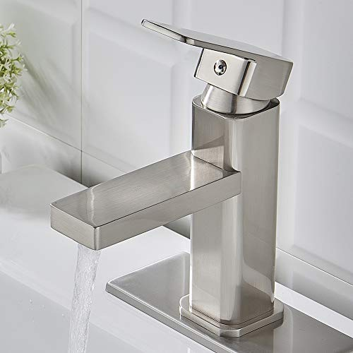 Modern Single Handle Bathroom Faucet Brushed Nickel, Square Bathroom Sink Washbasin Vanity Sink Faucet with Deck - Modern Single Bathroom Vanity