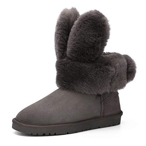 JYSSYLZH Schneestiefel Damen Dicke Leder Dicke Damen Warme Stiefel Shorts Rutschfeste Winter Baumwollschuhe 8f2c67