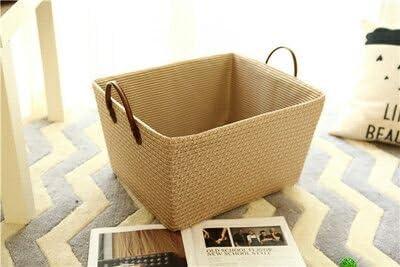 収納ボックス コットンロープバスケット 折り畳み式 収納バッグ ビニール袋 おもちゃボックス 服 タオル収納 果物 小物入れ ホーム 家庭用ベージュ