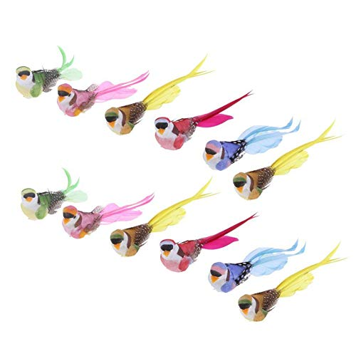Artificial Ornaments (lwingflyer 12pcs Artificial Simulation Foam Bird Feather Magpie with Claw Ornaments DIY Craft for Wedding Decoration Home Garden Party Accessories)