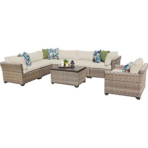 TK Classics Monterey 8 Piece Outdoor Wicker Patio Furniture Set 08b, Beige Review
