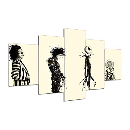 Artsailing 5 Piece famours Movie Characters Horror Edward Scissorhands Painting Wall Picture Poster and Print 5 Panel F414