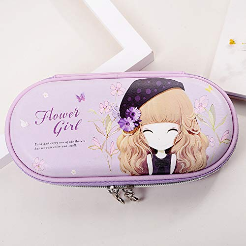 (Girls Cartoon Cute Pencil Case w/Pen Loops,Large Capacity Zipper Pen Pouch Bag Case for Organizing Rollerball Point Pens,Markers,Colored Pencils,Ruler,Eraser,Multi Layers Pencil Holder)