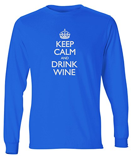 Dlx Wine - ShirtLoco Men's Keep Calm And Drink Wine Long Sleeve T-Shirt, Deep Royal Extra Large
